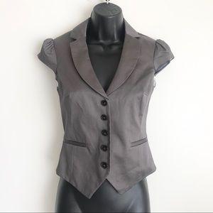 H&M Satin Cap Short Sleeves Blazer Jacket Brown 2
